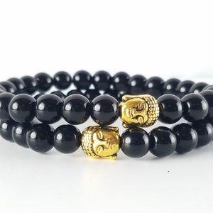 Men's Black Jasper Gold Buddha Bracelet
